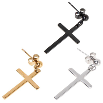 1PC Black Cross Earring Women Men Cool Eardrop Fashion Solid Earrings Punk Style Ear Stud Charm Earring Titanium Steel Jewellery image