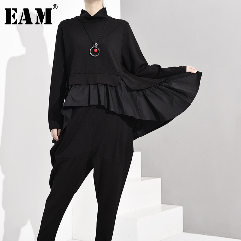 [EAM] Loose Fit Black Ruffles Asymmetrical Sweatshirt New Round Neck Long Sleeve Women Big Size Fashion Spring Autumn 2020 1A52