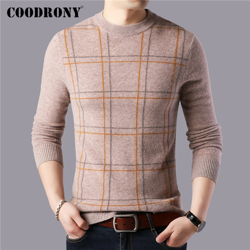 COODRONY Brand 100% Merino Wool Sweater Men Fashion Plaid Pull Homme Winter Thick Warm Soft Cashmere Sweaters Pullover Men 93047