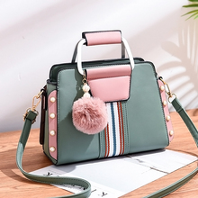 LAN LOU New shoulder bag women bag handbag  luxury handbags women bags designer High-grade Scrub leather messenger bags Hairball
