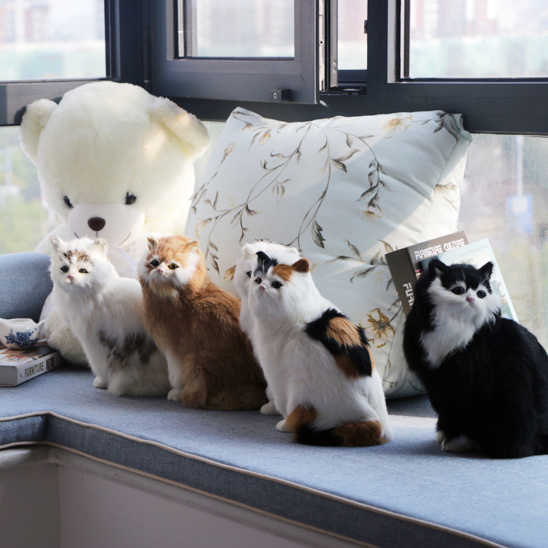 6 Colors Available Real Life Cat Large Size Squatting Colorful Cat Models Realistic Plush Animals Gifts Creative Home Decoration