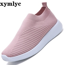 Women Knitted Vulcanized Fashion Sneakers Flat Shoes Slip On Sock Air Mesh Casual Breathable Lightweight