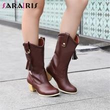 SARAIRIS New Big Szie 34-43 Winter mid-calf Western Boots Women 2019 Mature Fringe Ladies High Heels Chunky Shoes Woman