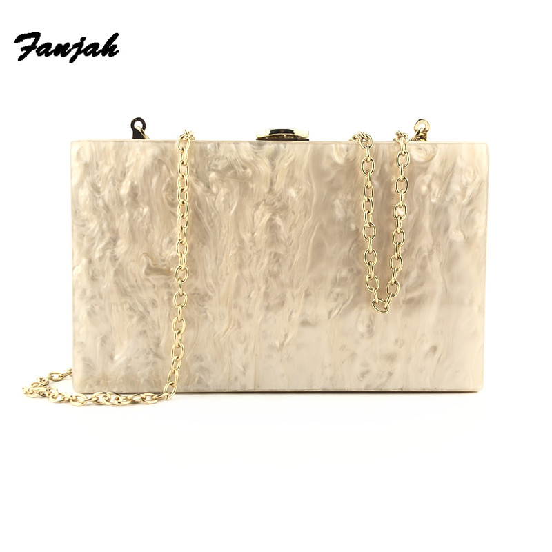 Pearl Nude Gold Glitter Side Acrylic Box Clutches Purse Wallet Women Female Shoulder Messenger Evening Handbags Obag Party Bags