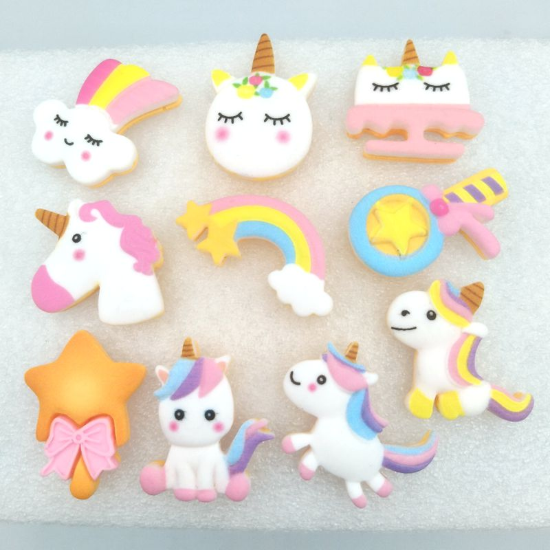 10Pcs Unicorn Head Kids Hair Bow DIY Crafts Resin Embellishment Decor Accessory