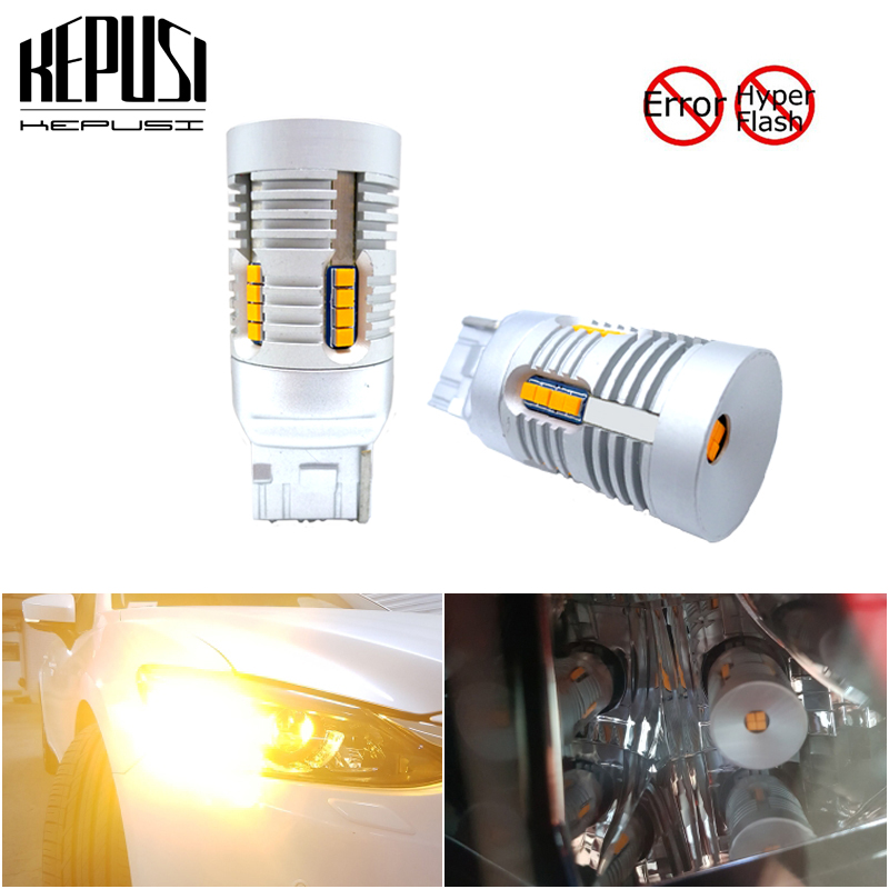 Canbus No Hyper Flash Amber Yellow 7440 W21w Wy21w T20 Led