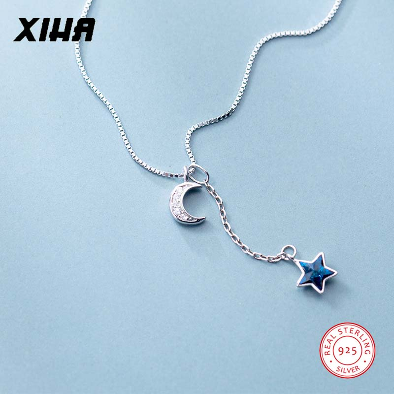 Blue Crystal 925 Sterling Silver Crescent Moon Star Necklace Choker for Women Girls Kids High Quality Charm Necklaces Pendants