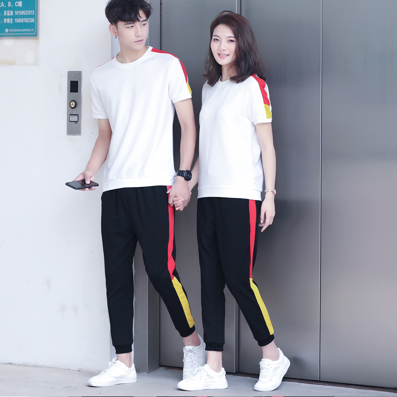 2019 Summer New Style Couples Casual Short Sleeve T-shirt Suit Men And Women Slim Fit Short Sleeve Sports Fashion