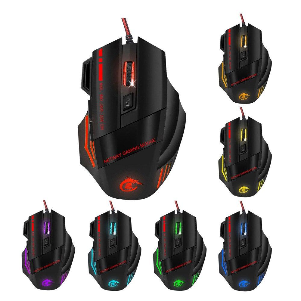 Цветная светящаяся игровая мышь оптическая проводная компьютерная