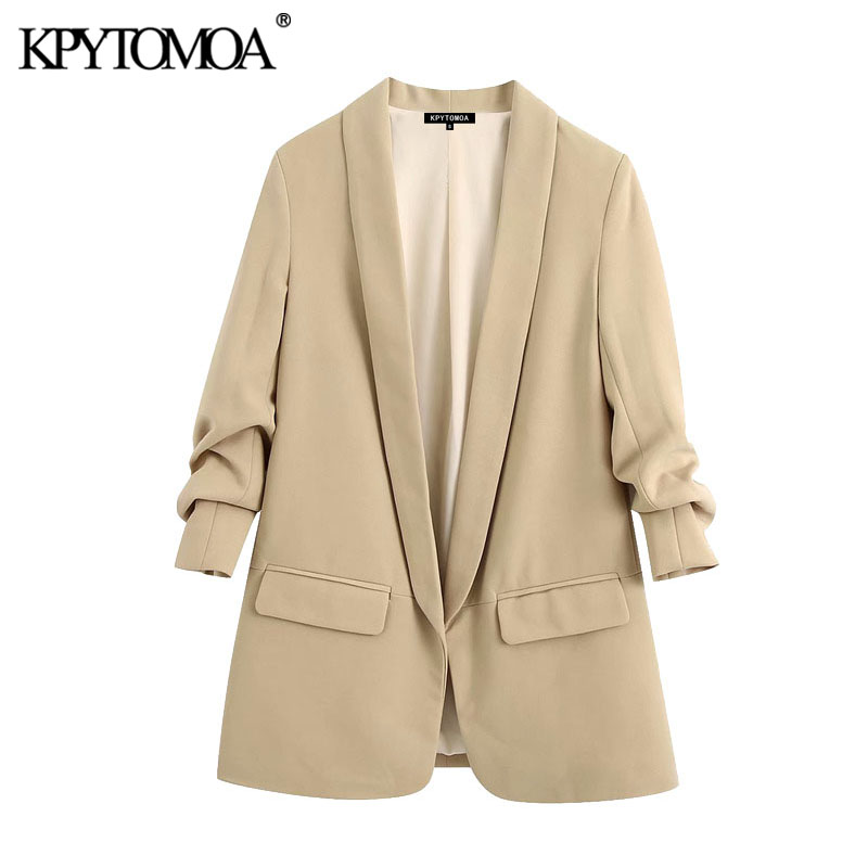 KPYTOMOA Women 2020 Fashion Office Wear Basic Blazer Coat Vintage Rolled-up Sleeves Pockets Female Outerwear Chic Tops