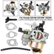 Carburateur adapté pour Honda GX160 GX168F GX200, 5,5 hp, 6,5 hp + tuyau de carburant, joint de moteur
