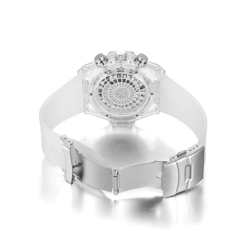 Image 3 - Full Transparent Watch Men Military Classic Silicone Sports  Quartz Chronograph Mens Watches Top Brand Luxury Relojes Hombre  2019Quartz Watches