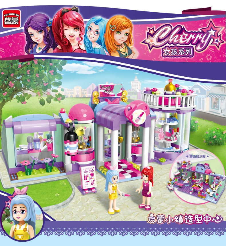 Models building toy Enlighten 2006 Girls Friends shirley's Beauty SPA Shop 485pcs Building Blocks compatible with