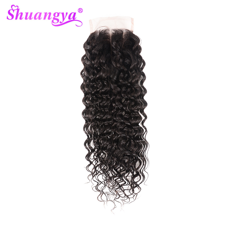 Swiss Lace Closure Water Wave Closure 4x4/5x5 Lace Free/Middle/Three Part Remy Hair Human Hair Closure Natural Color Shuangya