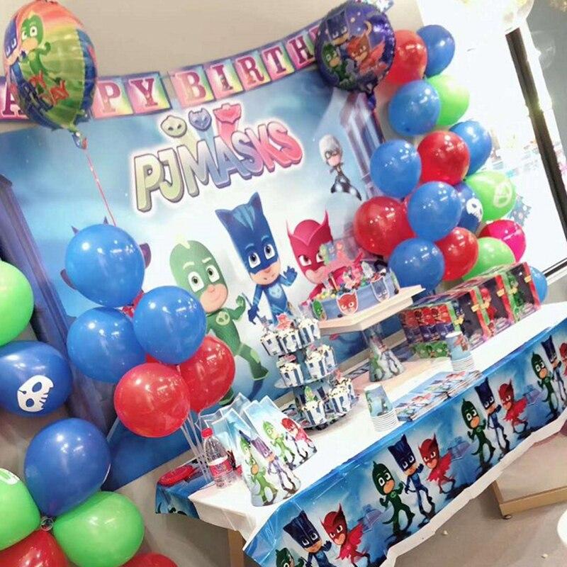 PJ Masks Cartoon Theme Birthday Party Costume For Kids Figures Toys Decorations Catboy Owlette Gekko Anime Doll Toy Plate