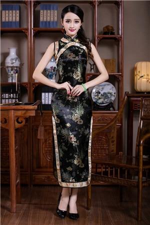Satin Mandarin Collar Female Cheongsam Sleeveless Sexy Qipao For Ladies Elegant Classic Tight Chinese Dress Vintage Vestidos