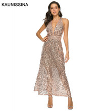 KAUNISSINA Women Sexy Sequin Evening Dress V-Neck Sleeveless High Waist Backless Party Gown Formal Dresses