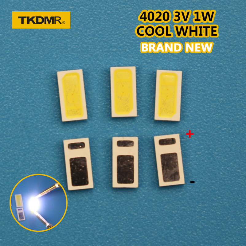 TKDMR 30pcs AOT LED Backlight 0.5W 3V 4020 48LM Cool White LCD Backlight For TV TV Application 4020C-W3C4 Free Shipping