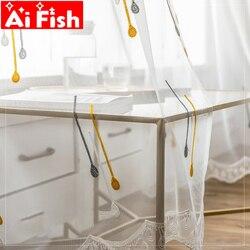 Kolorowe bańki hafty firanka tkaniny dla dzieci sypialnia świeże wielokolorowe kropki haftowane ekrany tiul MY205-5