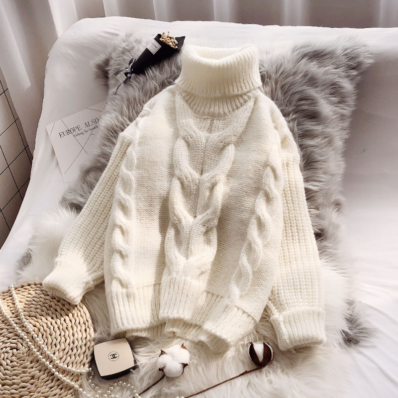 2019 New Thicken Turtleneck Women Sweater And Pullovers Solid Loose Elegant Coarse Lady Pulls Winter Outwear Coat Tops