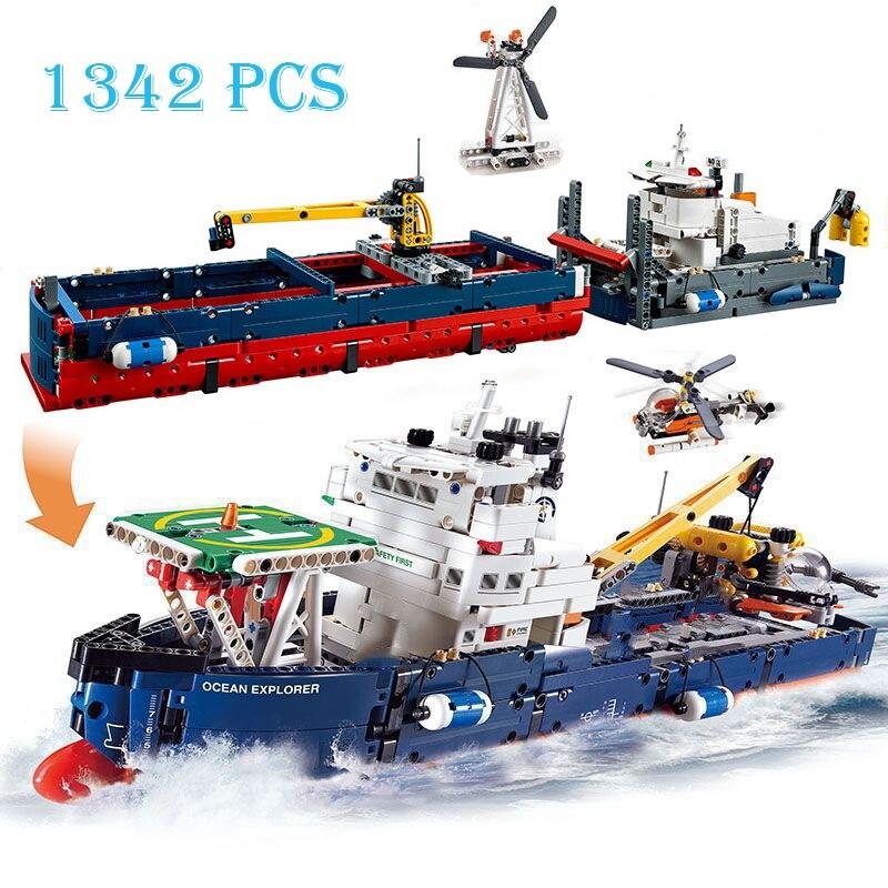 Строительные блоки 2 в 1, городской серии, Океанский исследователь, морской корабль, совместимые модели лодок, детские игрушки, 1342 шт.