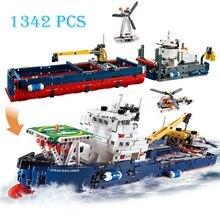 Blocos de construção compatíveis 2 em 1, 1342 un., cidade, explorador, barco, tijolos, brinquedos para crianças