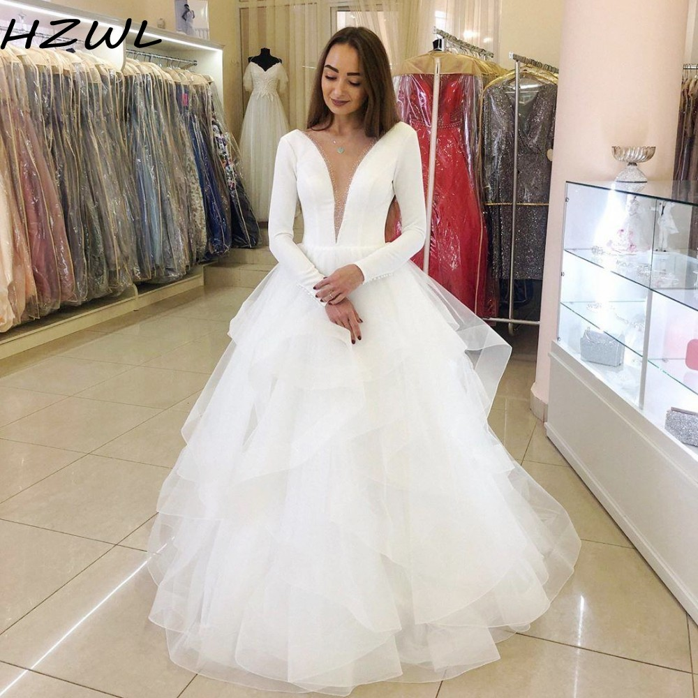 White Cheap Long Sleeves Wedding Dresses Deep  V Neck Sheer Neck Tiered Skirt A Line  Bridal Dress Pearls Wedding Gowns