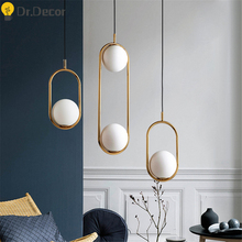 Nordic Glass Ball Pendant Lights Modern LED Hanging Lamp for Living Room Home Loft Industrial Decor Kitchen Luminaire Suspension