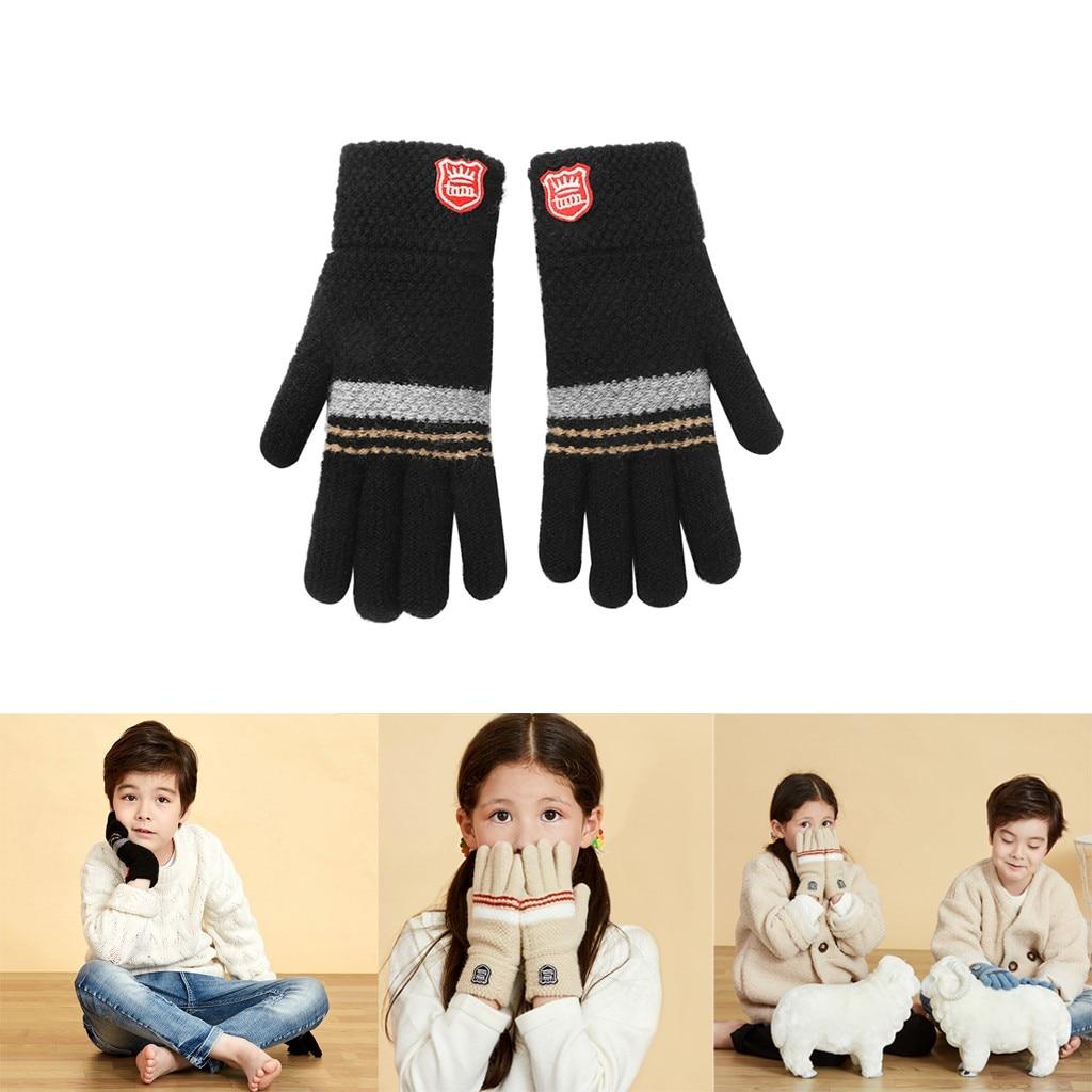 Теплые мягкие перчатки унисекс, детские зимние вязаные перчатки с пальцами для маленьких мальчиков и девочек