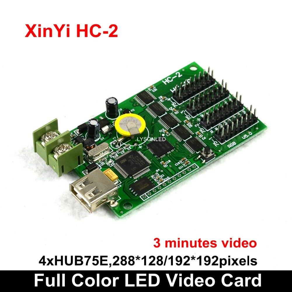 Asynchrone HC-2 U-Disk Full Color Led Videokaart 4 * HUB75E Ondersteuning 1/32 Scan Led Display, rgb Led Video Screen Controller