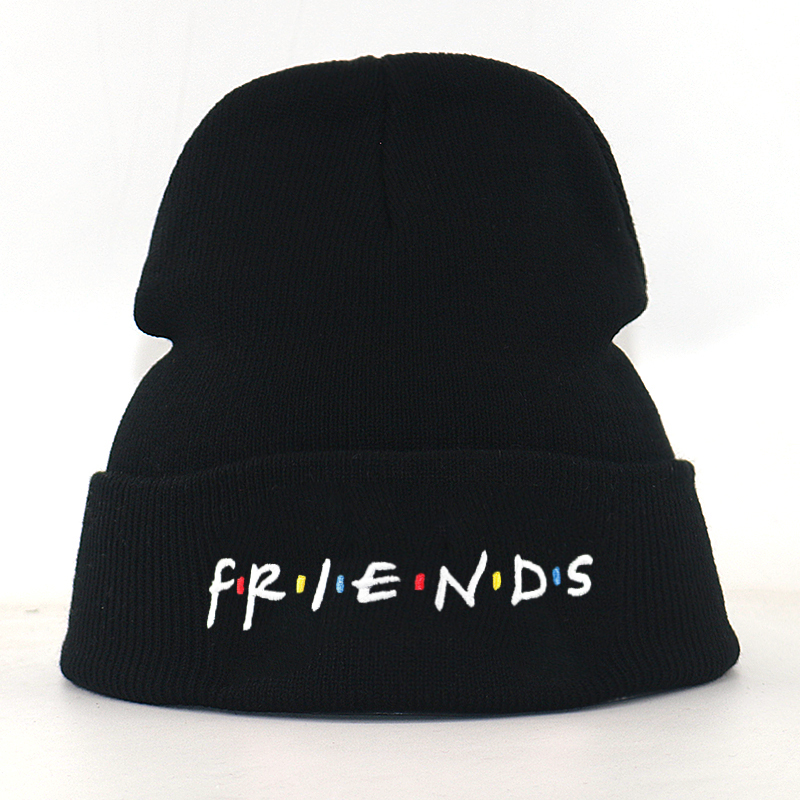 Letter Embroidery Friends Beanie Hat Cotton Flexible Black Knitted Beanies For Winter Autumn Men Women Hip Hop Cap