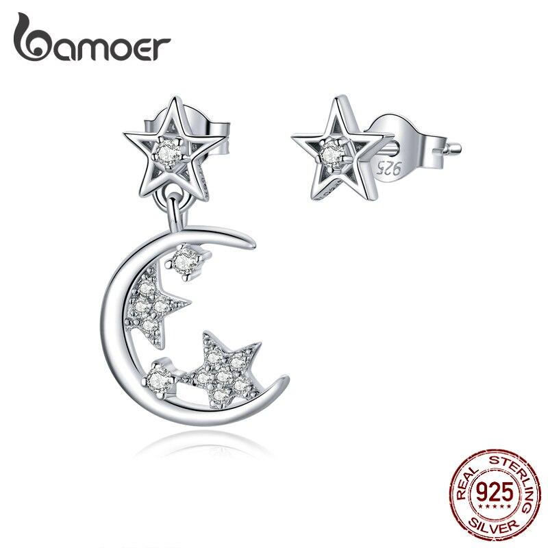 bamoer Silver 925 Stars and Moon Asymmetry Stud Earrings for Women Wedding Luxury Jewelry CZ 925 Sterling Silver Jewelry SCE813(China)