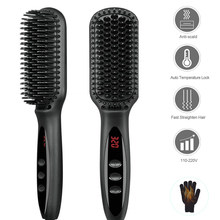 Lisseur électrique multifonction, peigne à barbe, Ion négatif, attelle de cheveux lisses, planche à lisser, outils de coiffure