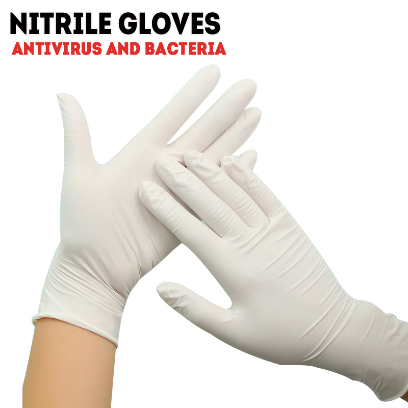 Nitrile Gloves Advanced Latex Gloves Disposable 100pcs Guantes Vinilo Checking Work White And Blue Color Small L M Safety AF008
