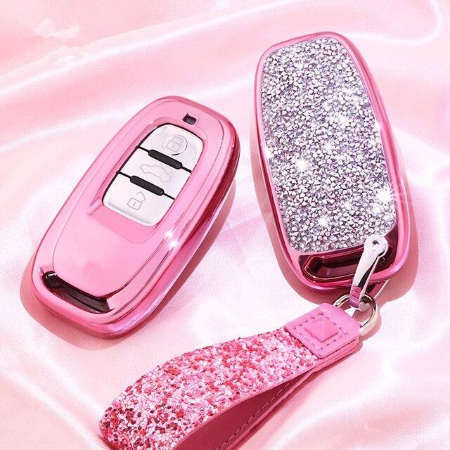 Алмазный чехол для автомобильного ключа для Audi A6L A4L Q5 A3 A4 B6 B7 B8 Интеллектуальный брелок для девочек женские подарки аксессуары