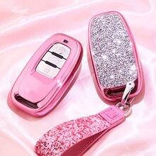 Diamond Car Key Cover Case For Audi A6L A4L Q5 A3 A4 B6 B7 B8 Smart Key Chain Keyring for Girls Women Gifts Shell Accessories