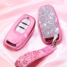 Etui clés de voiture diamant pour Audi A6L A4L Q5 A3 A4 B6 B7 B8 porte clés porte clés intelligent pour filles femmes cadeaux accessoires de coque