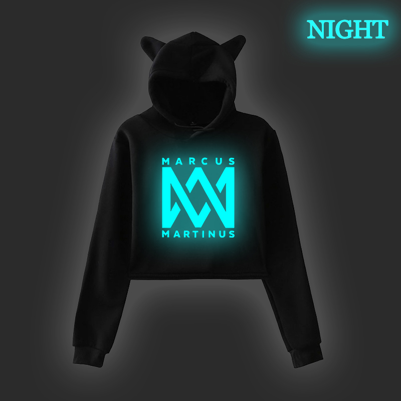 Fashion Marcus Martinus Woman Cat Ear Hoodies Teenager Girls Autumn Long Sleeve Hooded  Lady Sweatshirts Luminous Harajuku Tops