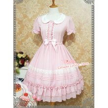 צווארון פיטר פן חמוד שרוול קצר שיפון שמלת הקיץ מתוק לוליטה שמלת אופ על ידי תות מכשפה