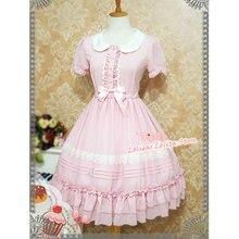 Słodkie krótkim rękawem szyfonowe, letnie sukienka słodkie kołnierz piotruś pan Lolita OP sukienka przez truskawki czarownica
