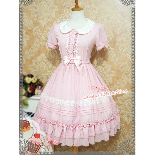 Tatlı Kısa Kollu Şifon yaz elbisesi Sevimli Peter Pan Yaka Lolita OP tarafından Çilek Cadı