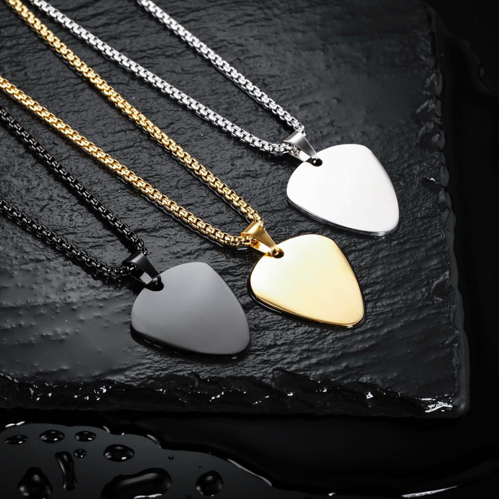 Showing Guitar Pick Necklace Customize Chains Men Women Rock Pendant Gifts  for Music Lovers Stainless Steel Cool Jewelry Pendants  - AliExpress