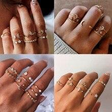 Boho geometria ajustável cristal opala estrela lua sol anel mix conjunto para as mulheres moda vintage 2020 anéis feminino festa jóias presente