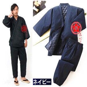 Jinbei japońskie kimono Haori mężczyźni pikowane ubrania domowe pół-owinięte ciepłe japonia styl bawełna azjatyckie tkaniny Yukata piżamy zestawy