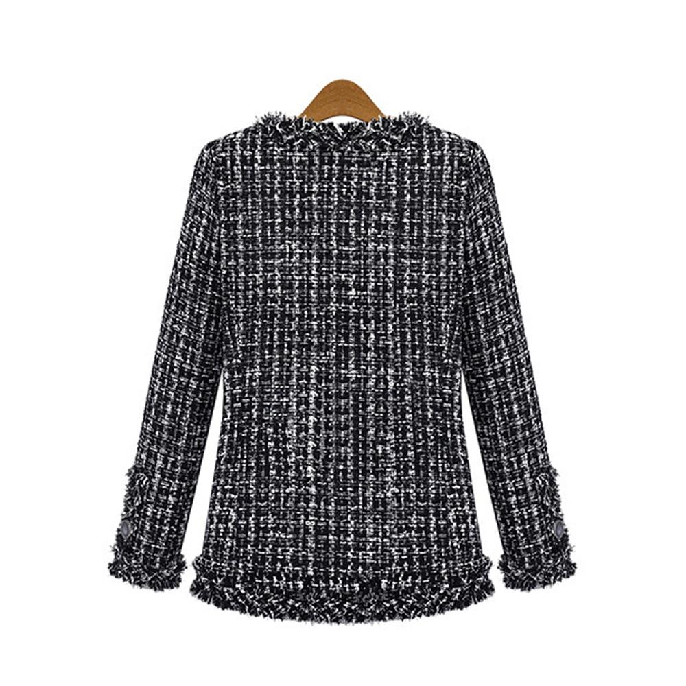 Autumn Winter Coat Women 2019 Plus Size Elegant Long Sleeve Plaid Jackets Female Vintage Oversize Tassel Tweed Wool Blends Black 12