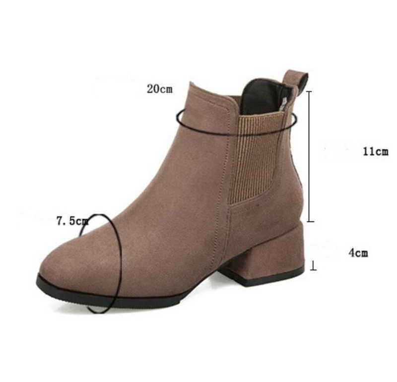 Kadın sonbahar kış akın yarım çizmeler Slip-on yuvarlak ayak 4cm kare topuk düz rahat siyah/deve patik boyutu 35-43