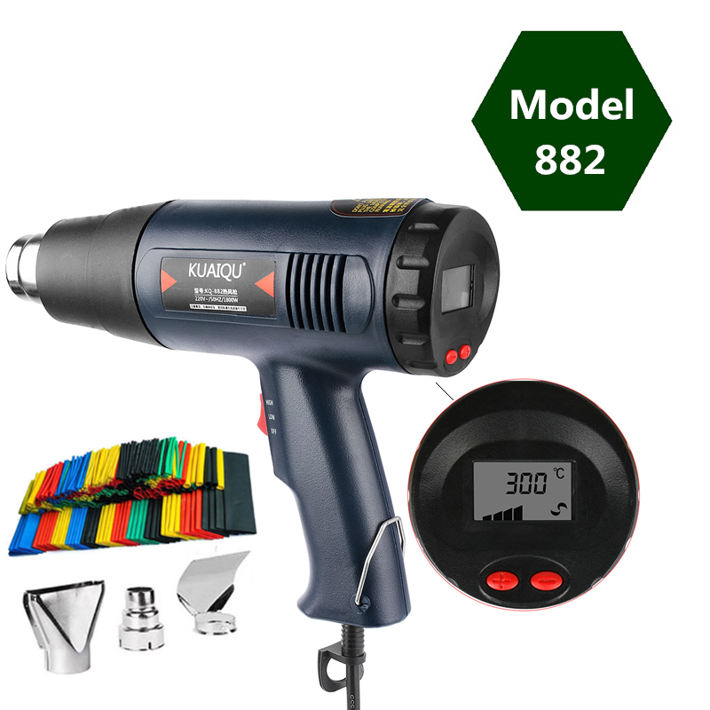 Professional Electric Hot Air Gun Soldering Temperature-controlled Building Hair Dryer Heat Gun Soldering Tools + Nozzle