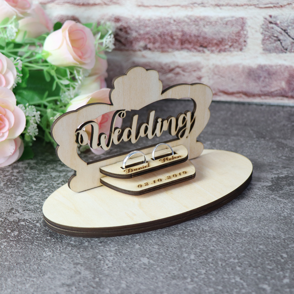 Customized Wedding Gifts Ring Bearer Box  Personalized Ring Holder Nature Ring Box For Engagement  Name Ring Pillow Decorations (5)