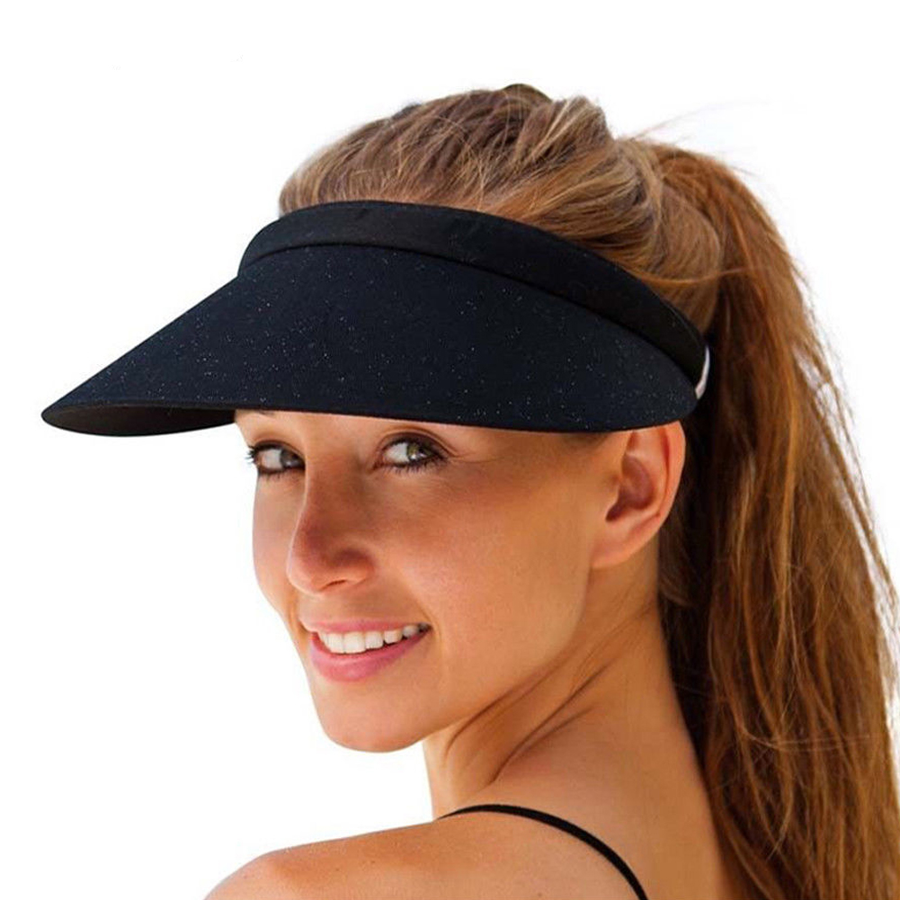 Unisex Women Men Sports Sun Visor Hat Sunscreen Empty Top Adjustable Hats Golf Tennis Caps Pure Color Casual Outdoor Camp Use