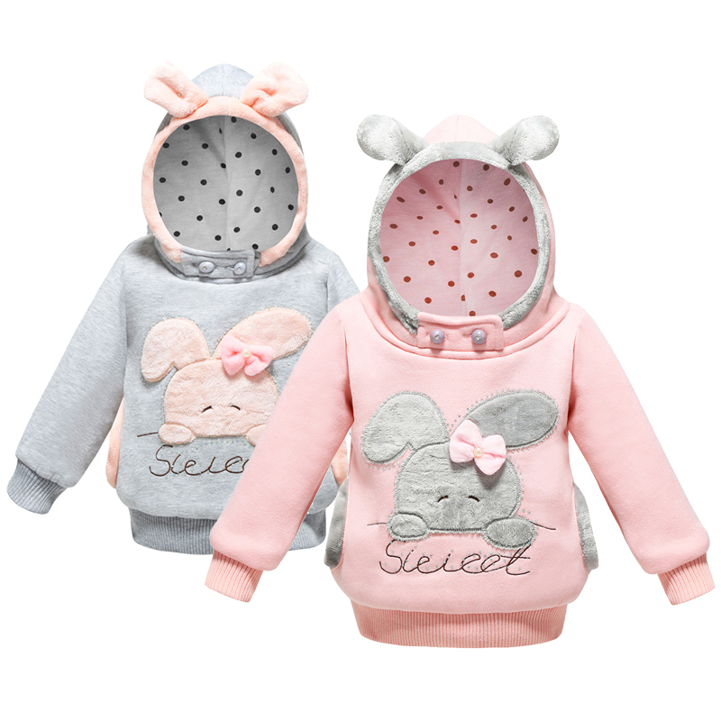 Girls Jacket Sweet Rabbit Spring Warm Kids Hoodies Sweatshirt Casual Hooded Autumn Girls Sweater Birthday Present Kids Clothes